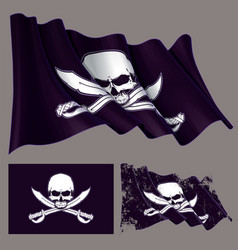 Waving pirate flag jawless skull and swords vector