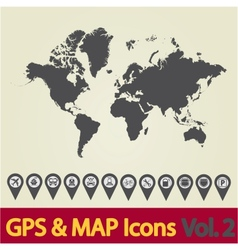 World map icon 2 vector image vector image