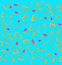 yellow hearts arrows love word seamless pattern vector image vector image