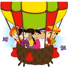 Multicultural people on one balloon vector