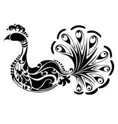 Decorative peacock black and white vector