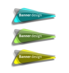Set of realistic abstract banners with glass vector