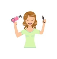Woman drying hair with hairdryer home spa vector