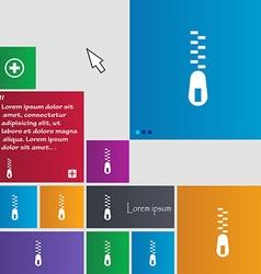 Zipper icon sign buttons modern interface website vector