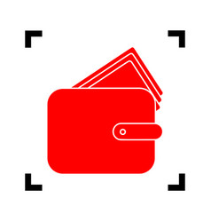 wallet sign   red icon inside vector image