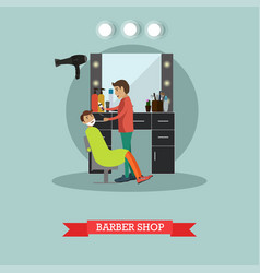 barber shop concept in flat vector image