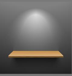 Wooden shelf on dark wall vector image