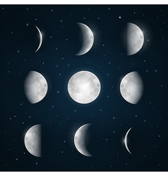 Moon Phases - Night Sky with Stars vector image