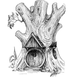 Small house in tree hollow sketch vector