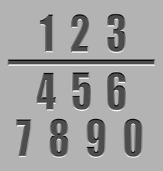 Stone carved numbers font vector