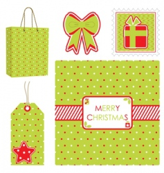 Polka dot christmas set vector