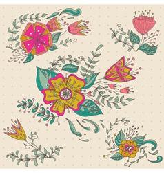 Hand drawn flower bouquet set Pastel background vector image