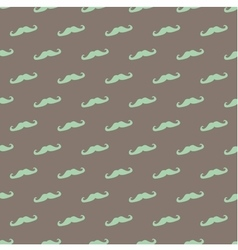 Tile pattern green mustache on brown background vector