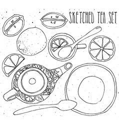 Hand drawn sketch tea set vector