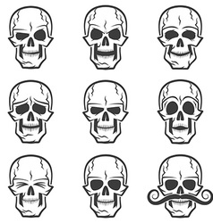Skull emotions set vector