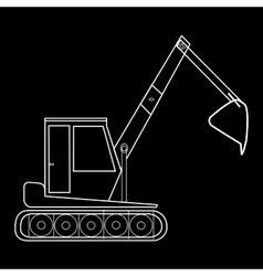 Excavator with bucket construction road works vector