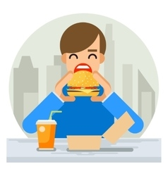 Happy man eating hamburger sandwich icon fast food vector