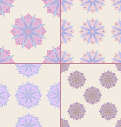 Set of seamless patterns with mandala motifs vector
