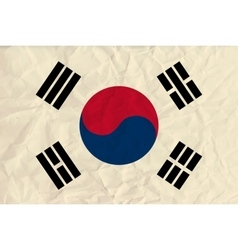Republic of korea paper flag vector