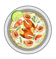 Plate of green papaya salad with shrimps vector