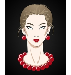 Beautiful young woman portrait with red necklace vector image