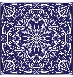 Blue bandanna with white pattern vector image