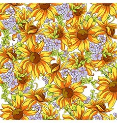 Bright background of sunflowers vector