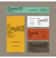 Business cards design Venice city sketch vector image vector image
