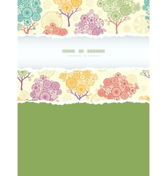 Colorful abstract trees vertical torn frame vector image vector image