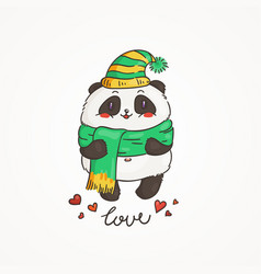 cute panda in scarf and hat wildlife ecology vector image