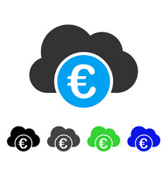 Euro cloud banking flat icon vector