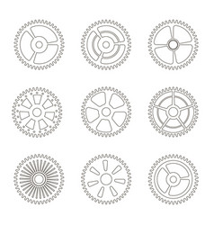 Gears cogs wheels or sprocket line icon set vector