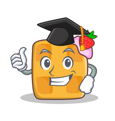 Graduation waffle character cartoon design vector