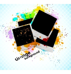 Grungr background with photoframe vector