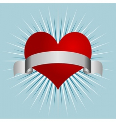 heart and ribbon vector image vector image