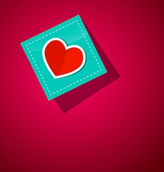 Heart on Paper Blue Paper on Pink Background vector image