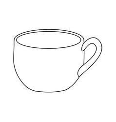 monochrome contour with cup of coffee close up vector image vector image