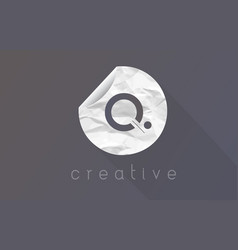 Q letter logo with crumpled and torn wrapping vector