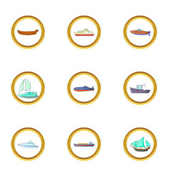 Sea cargo icons set cartoon style vector