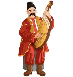 Senior ukrainian musician with bandura vector image