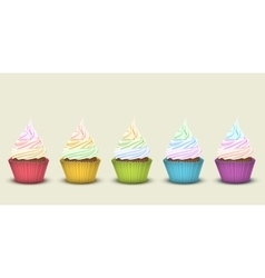 Set of five rainbow cupcakes vector