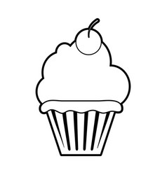 sketch silhouette image cupcake with cherry and vector image vector image