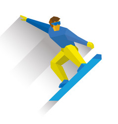 snowboarding cartoon snowboarder during a jump vector image vector image