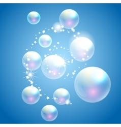 soap bubbles blue background vector image