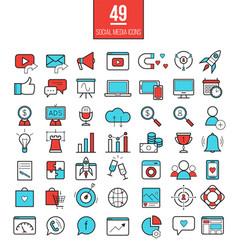 Social media marketing modern line icons set vector
