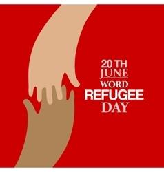 Two hands emblem of world refugee day vector