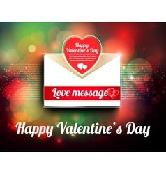 Valentine mail message with heart vector image vector image