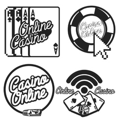 Vintage online casino emblems vector image