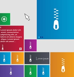 Zipper icon sign buttons modern interface website vector