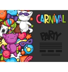 Carnival party kawaii flayer Cute cats vector image
